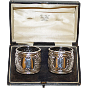 Antique Sterling Pair Napkin Rings in Box - Outstanding From 1895
