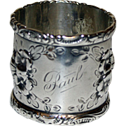 Wood & Hughes Antique American Sterling Napkin Ring, Repousse Flowers
