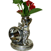 Antique Figural Napkin Ring & Vase, Draped Cherub with Mirror, by Rockford, 4 Inches Tall