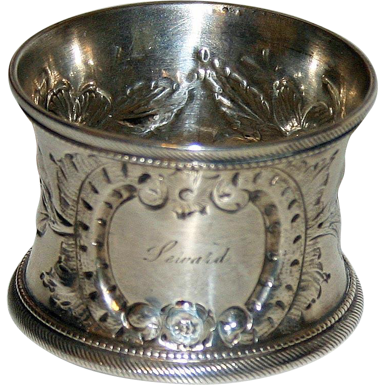 Antique American Coin Silver Napkin Ring - Seward
