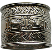 1889 Hallmarked English Sterling Napkin Ring with Zodiac Signs by Gibson & Longman