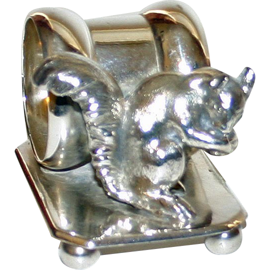 American F. B. Rogers Figural Napkin Ring--Antique with Squirrel