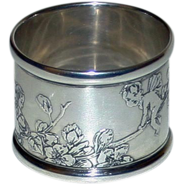 Tiffany Antique Sterling Silver Napkin Ring with Fairies - Stunning