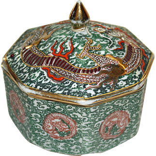 Vintage Chinese Octagonal Box With Lid, For Export to England