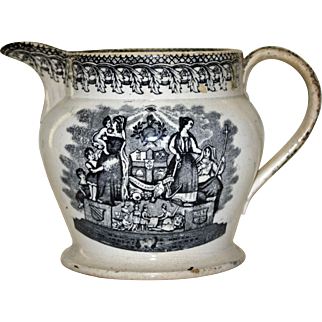 Odd Fellows (IOOF) Early 19th Century Black & White Pitcher, Very Rare