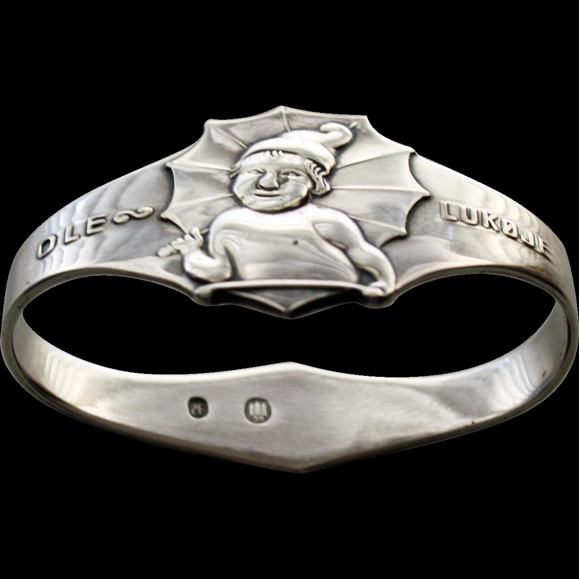 Sterling Napkin Ring: Hans Christian Andersen's Ole Lukoje (Danish Sandman)