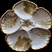 "Antique French Limoges T & V, (Tressemann & Vogt), Oyster Plate retailed by ""Higgins & Seiter"", New York"
