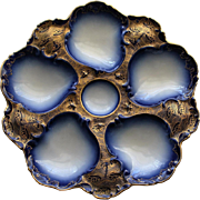Antique Limoges Cobalt and Gold Oyster Plate - Extraordinary