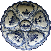 Antique Blue and White Weimar Oyster Plate, Wells Individually Painted