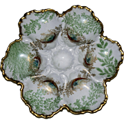 Antique Stunning Limoges Oyster Plate, Late Nineteenth Century
