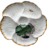 Antique Limoges Charles Field Haviland Oyster Plate, Lovely Decorations