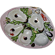 Antique UPW (Union Porcelain Works) Oyster Plate, Hand Decorated