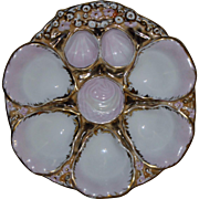 Antique 5 Well Oyster Plate with 3 Small Wells for Sauce and Shellfish, Pebbled Effect, Blush, Brown and White