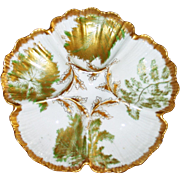 Antique French Limoges Green and Gold Oyster Plate by Tressemann and Vogt