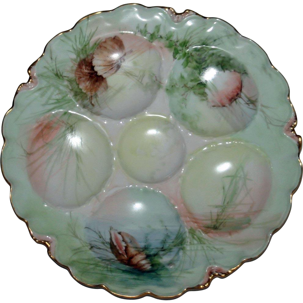 Antique Haviland Oyster Plate, Shells and Seaweed Decoration