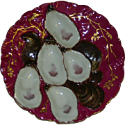 Haviland Limoges Claret Turkey Oyster Plate