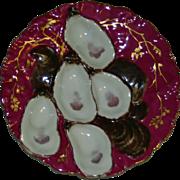 Haviland Limoges Claret Turkey Oyster Plate