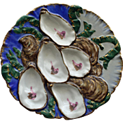 Antique Haviland Limoges Turkey Oyster Plate, Royal Blue