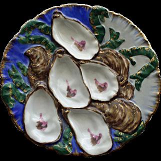 Antique Haviland Limoges Turkey Oyster Plate, Royal Blue