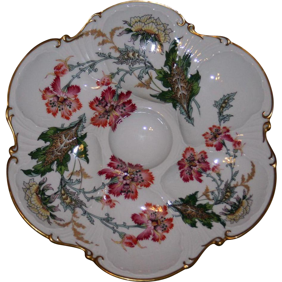 Antique Limoges Oyster Plate - Ruffled Poppies