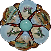 Antique Oyster Plate with Hand Painted Alternating Boat and Seaweed Scenes in Wells, Shell Dividers