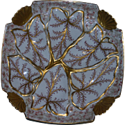 Antique Limoges Oyster Plate with Wells Shaped as Leaves