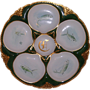Antique Green and Gold Oyster Plate, Wells with Hand Painted Fish