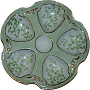 Antique Limoges Oyster Plate Pale Green with Gilt