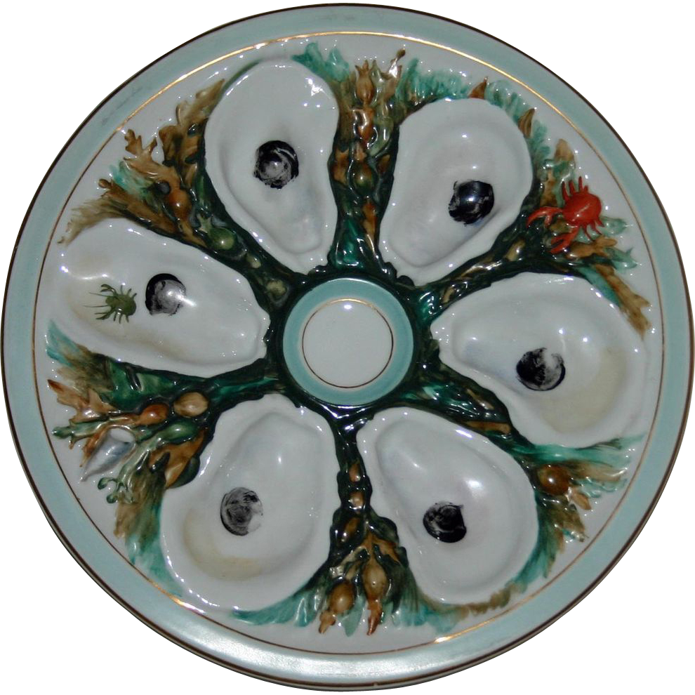 Antique UPW Large Round Oyster Plate-Union Porcelain Works