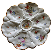 Antique German Oyster Plate w Shell Dividers, Charming Figures, Tulips and Roses