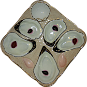 Antique Square Oyster Plate with Realistic Shells