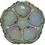 Antique French 5 Well Oyster Plate with Pastel Colors