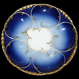 Antique Cobalt Haviland Oyster Plate 1888-1896
