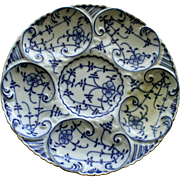 Antique Blue Onion German Oyster Plate