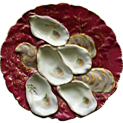 "Antique French Haviland Limoges Claret ""Turkey"" Oyster Plate, 1876-1886"