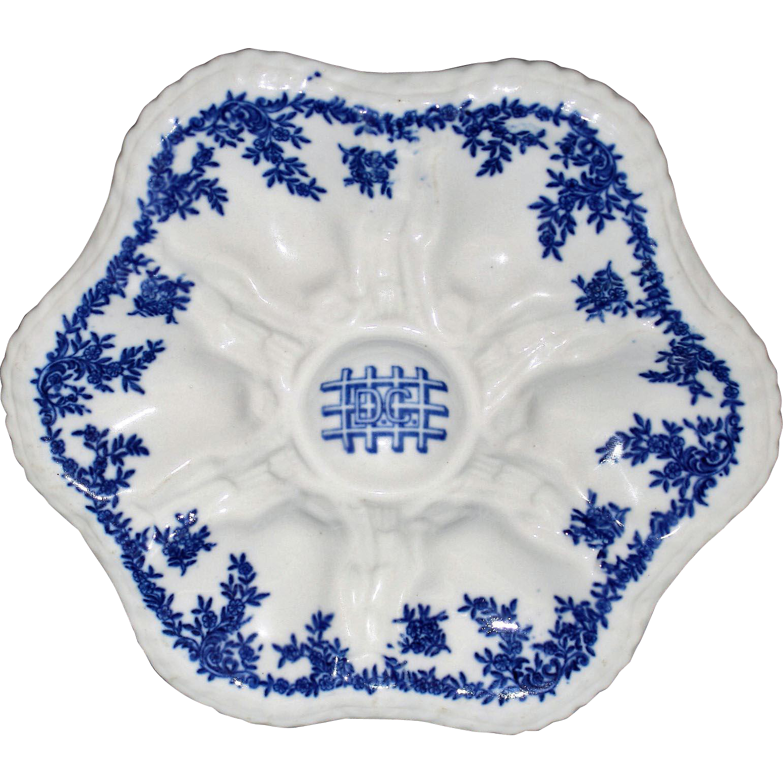 """Antique Railroad """"D.C."""" Oyster Plate by Greenwood China Co., Trenton, N.J."""