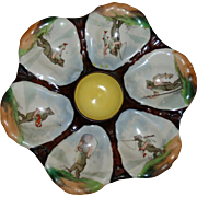 "Antique ""Fishing Elves"" Oyster Plate, Hand Painted Wells"