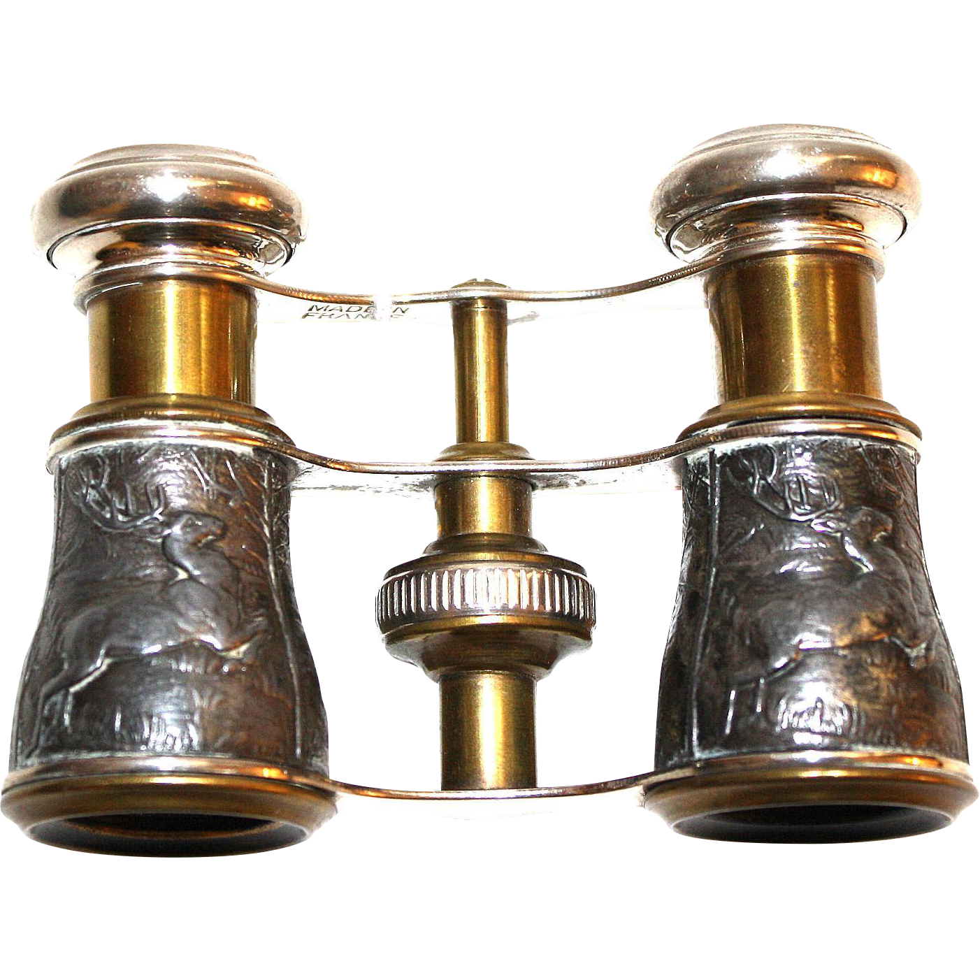 Vintage French Opera Glasses with Stag and Hound Design