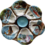 Antique Oyster Plate: Hand Painted Fish in Individual Wells