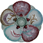 Vintage Majolica Oyster Plate Pink, Blue, and Brown