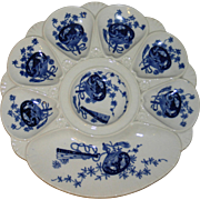 "1890 Antique Mintons Blue and White Oyster Plate -"" Bombay"" Pattern"