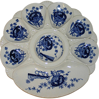 Antique Mintons Blue and White Oyster Plate - Bombay, 1890