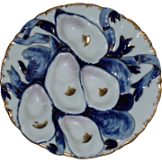 Antique Haviland Blue Turkey Oyster Plate - Rare Color
