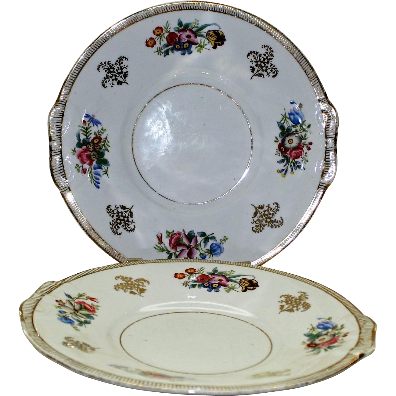 Hand Painted Plates : Pair of antique hand painted cake plates from