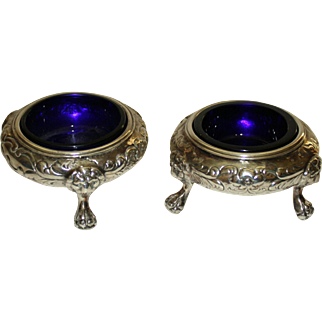 Pair Silverplate Salts with Original Cobalt Glass Liners