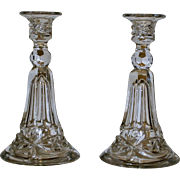 Pair Tall Vintage Pressed Glass Candlesticks