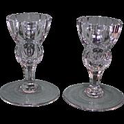 Pair Waterford Marquis Candlesticks, Cut Glass