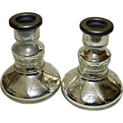 Pair Antique Mercury Glass Candlesticks