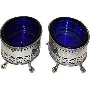 Pair of Vintage Silver Plate Salts. Oval Shape with Cobalt Glass Liners