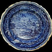 Historical Blue Transferware Palestine Plate by Stevenson 1810-1832 Outstanding